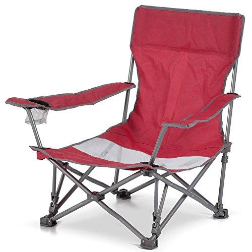 Bakaji spiaggina sedia da spiaggia campeggio pieghevole ad ombrello solida struttura tubolare in ferro con braccioli e portabibita colore rosso dimensioni 65 x 86x h 69 cm