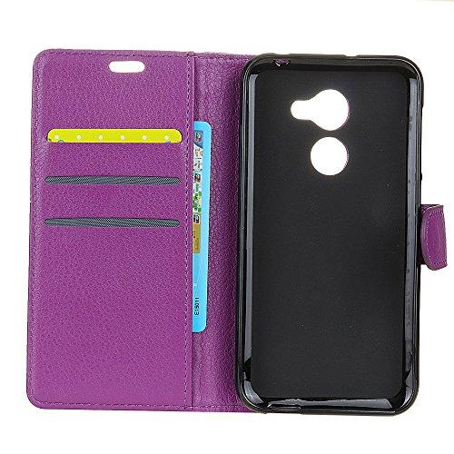 Klassische Litchi Texture PU Leder Schutzhülle Horizontale Folio Flip Stand Case Cover mit Kartensteckplätzen für Vodafone SMART N8 ( Color : Purple ) Purple