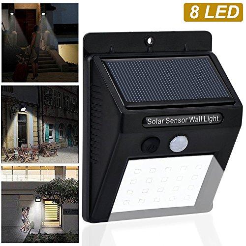 8 Garagentore X 16 (Solar Wandleuchten, Im Freien drahtlose Bewegungs-Sensor-Sicherheits-Lichter 8 LED-wasserdichte angetriebene Solarlichter im Freien beleuchtet Nachtlichter für Patio, Landschaft, Flut, Yard, Pool, Garagentor)
