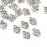 "Lot 50 Silver Plated MADE WITH LOVE Heart Charms 0.35"" HOT"