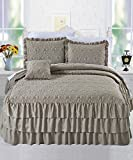 BNF Home 4 Piece Matte Satin Ruffle Quilted Bedspread Set, Queen, Taupe - Best Reviews Guide
