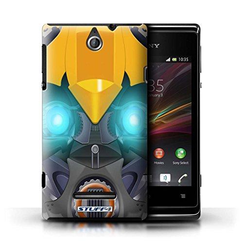 Kobalt® Imprimé Etui / Coque pour Sony Xperia E / Opta-Bot Rose conception / Série Robots Bumble-Bot Jaune