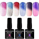 Senvenski Smalto Semipermanente Termico Cambiamento di Colore Gel Unghie Soak Off UV LED Vernice Manicure Nail Art Kit Regalo(WB6-001)