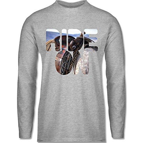 Statement Shirts - Ride on Pferd reiten - Longsleeve / langärmeliges T-Shirt für Herren Grau Meliert