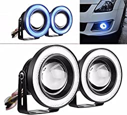 Guance High Power Led Projector Fog Light Cob with White Angel Eye and Blue Ring 15W,Set of 2 for Maruti Suzuki Zen Estilo