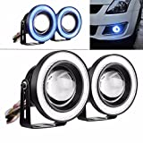 #2: Guance High Power Led Projector Fog Light Cob with White Angel Eye and Blue Ring 15W,Set of 2 for Maruti Suzuki Zen Estilo