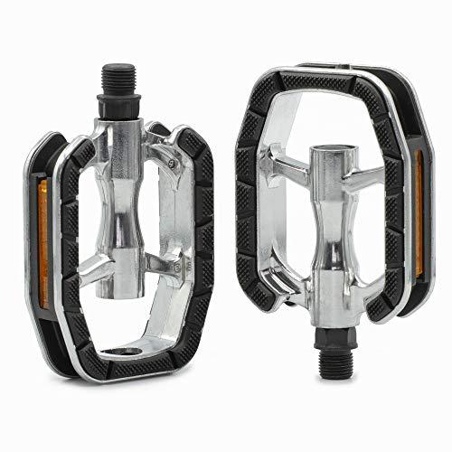 Kartell ® Universal Fahrradpedale Set mit Gleitlager-Technologie für Cityrad, Trekking Bike, Touren Fahrrad und E-Bike, Silber/schwarz