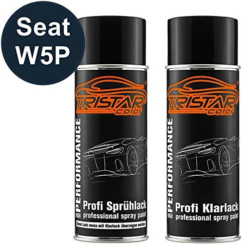 TRISTARcolor Autolack Spraydosen Set für Seat W5P Azul Apolo Metallic/Apolo Blau Metallic Basislack Klarlack Sprühdose 400ml
