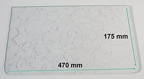 Kühlschrank Einlegeboden / Glasplatte / Gemüsefach – Strukturglas 4 mm dick - mit 2 Rundecken – 470 mm x 175 mm - Direkt vom Glasereifachbetrieb!!!