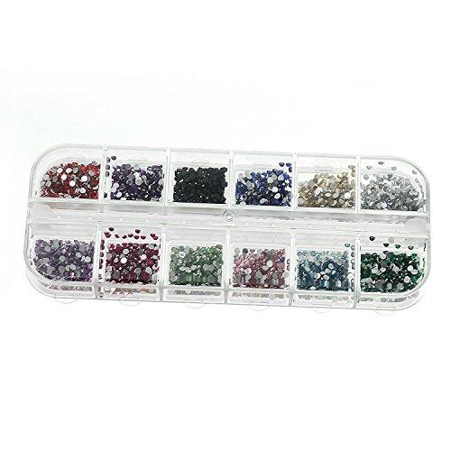 3000 Strasssteine Nailart Edelsteine 1,5 mm verschiedene Farben Formen im Etui - Supplies Nail Usa Art