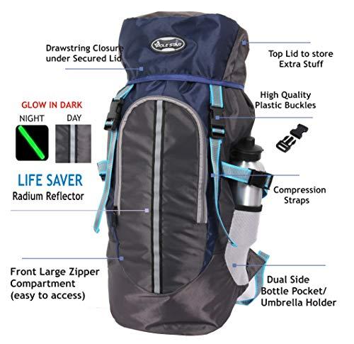 POLESTAR Hike Grey Rucksack with RAIN Cover/Trekking/Hiking BAGPACK/Backpack Bag Image 2