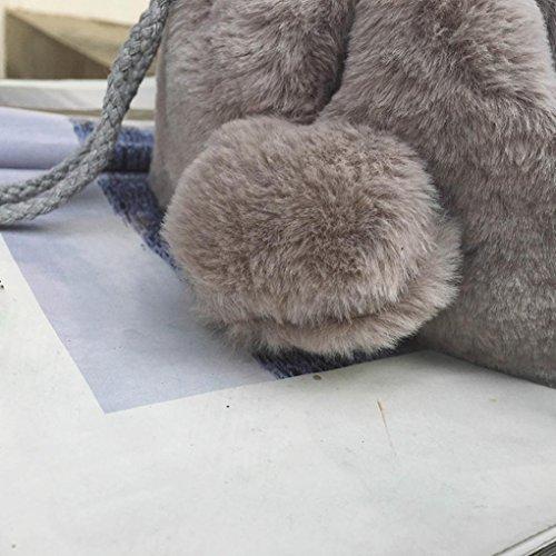 Borsa A Tracolla In Velluto, Belle Ragazze Mano Borsa Donna Imitazione Pelliccia Spalla Borse Peluche Spalla Borsa di Kangrunmy Grigio