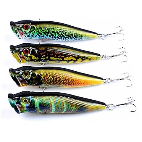 A-szcxtop 4pcs Topwater Leurres de pêche flottant Popper appâts en plastique dur appâts basse avec motifs de vos yeux 3d Top Eau Hochets 12g 9.5cm
