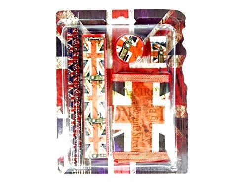 Back To School Geschenk Set–Distressed Union Jack Bedruckt Geschenk Set mit Bleistift, Lineal,...