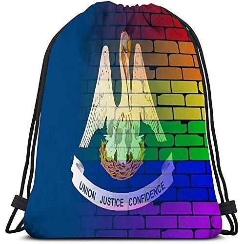 Arvolas Kordelzug Sporttasche Rucksack gut getragen Wand gemalt LGBT Rainbow Louisiana State Flagge Rainbow Brick Wall Louisiana Flagge -