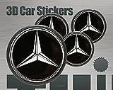 3D Aufkleber 4 Stk. Mercedes Logo Imitation Alle Größen Mittelkappen Radkappen (60 mm)