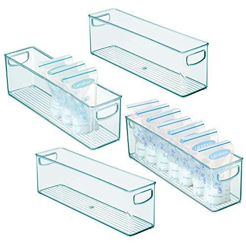 mDesign Juego de 4 cajones de plástico sin BPA para Alimentos Infantiles - Organizador de Cocina con Asas - Práctica Caja de almacenaje para Bolsas de Leche Materna - Azul Claro