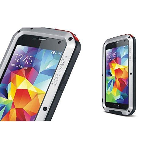 Wasserdicht Verizon-handys (Love Mei Aluminium Metall Schutzhülle für Samsung Galaxy S5I9600, wasserdicht stoßfest mit Gorilla Glas)