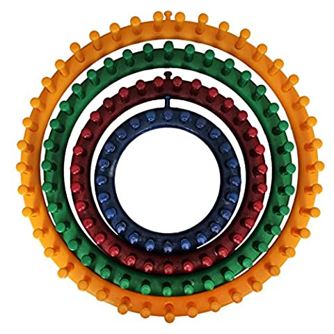 4 Pc Set of Strong Plastic Circular Knitting Looms by Curtzy - 4 Sizes Included 14cm (5.5