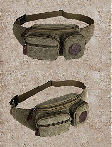 drasawee Jungen Herren Vintage Canvas Reisen Wandern Brustumfang Schulter Cross Body Tasche Taille Pack Tasche Casual Rucksack Armee-Grün