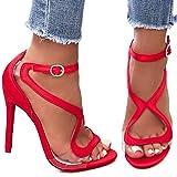 Mondo Shop.de.Fashion Damenschuhe Luxus Party Pumps Sandaletten Stiletto High Heels Satinoptik (39, Rot)