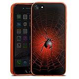 Apple iPhone 5 Slim Case transparent neon orange Silikon Hülle Schutzhülle Spinne Spider Netz