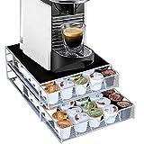 Bakaji - Contenedor para cápsulas de café Nespresso Nescafè Lavazza de metal, cajón extraíble, plateado y negro 37 x 28 x 15 cm
