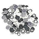 150 schwarz weiße Knöpfe aus Holz, Acryl und Kunstharz, für Kartenverzierungen
