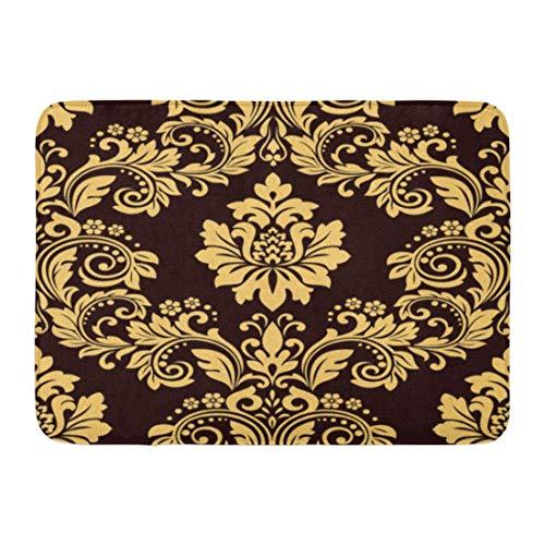 Antik-gold-teppich (Rongpona Fußmatten Bad Teppiche Outdoor/Indoor Fußmatte braun Blumenmuster Barock Damast Schokolade und Gold Rapport Antik Badezimmer Dekor Teppich Badematte)