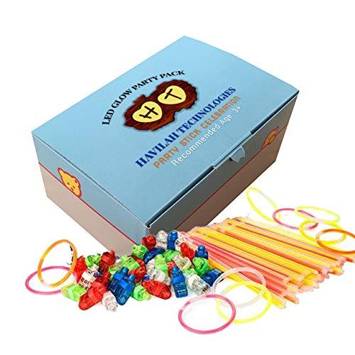 HAVILAH TECHNOLOGIES (Packung mit 100 Partybündeln Leuchtstäbe Massen-Party-Bündel für Kinder & Erwachsene | Leuchtstäbe (50 Stück) | LED-Fingerlichter (50 Stück) LED-Leuchtstab | LED Finger Lichter