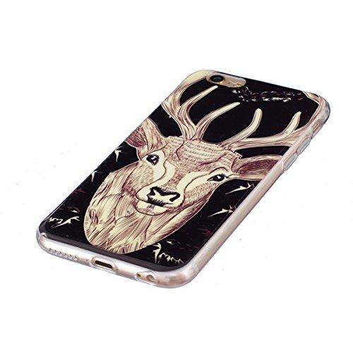 iPhone 6 Hülle, iPhone 6S Hülle, Gift_Source [ Hirsch ] Hülle Case Transparent Weiche Silikon Schutzhülle Handyhülle Schutzhülle Durchsichtig TPU Crystal Clear Case Backcover Bumper Case für iPhone 6s E1-Hirsch