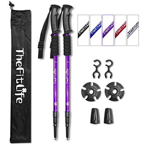 Thefitlife Paire de bâtons de marche ultraléger, pliable et antichoc pour marche nordique, alpinisme, randonnée,...