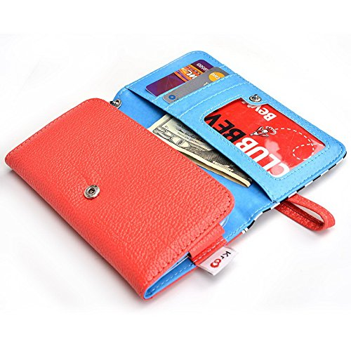 Kroo Transport Wallet Wristlet Étui pour Samsung Galaxy Trend Plus/Ace 3/Xcover 2 Blue Houndstooth and Blue Orange Stripes