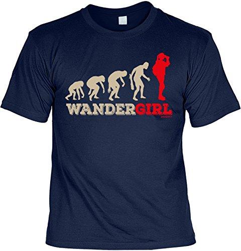 Freizeit/Wander/Kletter-Shirt/Sprüche-Shirt Thema Wandern: Wandergirl für Gipfelstürmer Navyblau