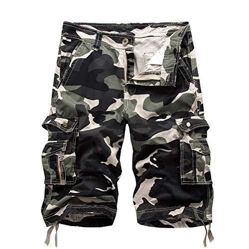 12 Pocket-cargo-shorts (SUKUTU Männer Cargo Shorts Loose Fit Sommer Lässige Multi Taschen Shorts Baumwolle Gehen Kampf Camouflage Shorts Strandhose)