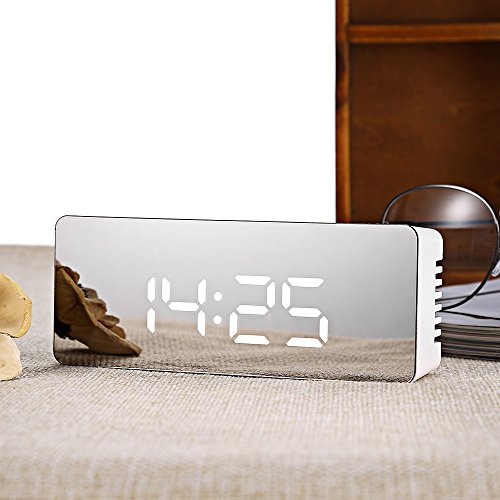 Perfectii Miroir LED Surface Radio-réveil Numérique, Mode De Nuit 2 Niveaux Luminosité Réglable Affichages Temps Température Support D'Alarme Fonction Snooze