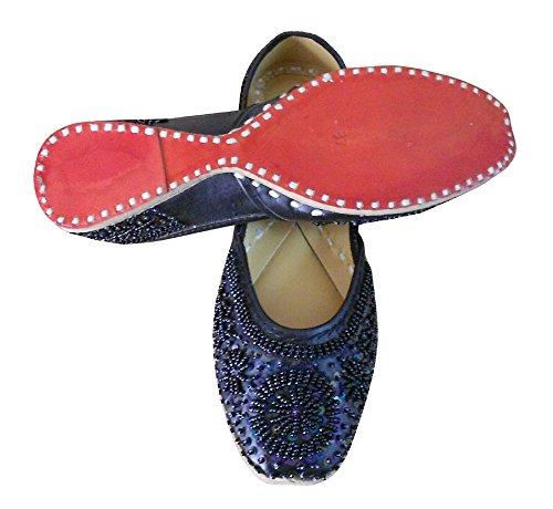 kalra Creations Chaussures de mariage indien traditionnel en cuir pour femme Noir