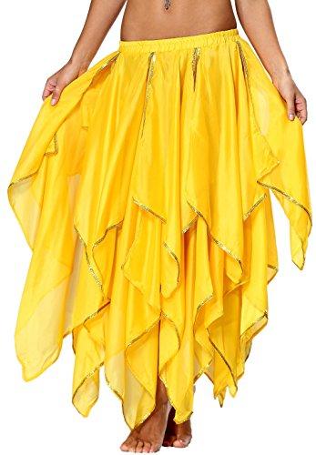 Chiffon Bauchtanz Rock Orientalische Kostüme Damen Seitennaht Glänzende Kante, 13 panel-Gelb, ()