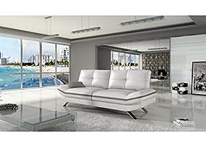 MyMeubleDeco - Canapé 3 places Miami Cuir PU blanc gris