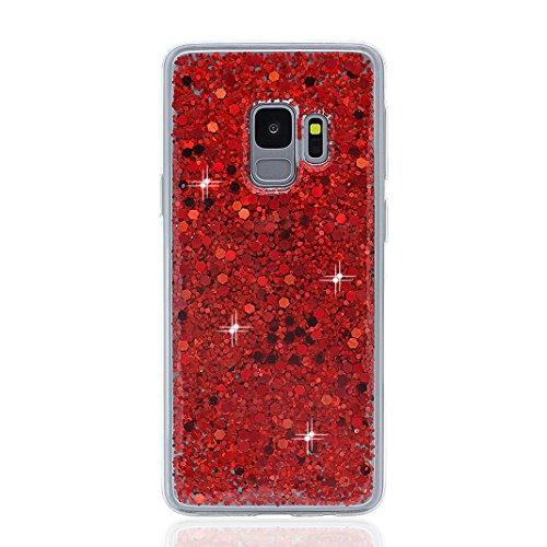 Galaxy S9 Hülle, Bling Glitzer Galaxy S9, Asnlove Glitzer Slim Silikon-Case Back-Cover Schutzhülle, Glitter Sparkle Handy-Tasche Bumper, Dünnes Bling Strass Phone Etui für Samsung Galaxy S9 Case Cover - Rot