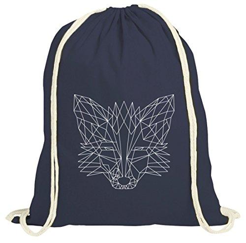 Fox natur Turnbeutel mit Polygon Fuchs Motiv von ShirtStreet dunkelblau natur