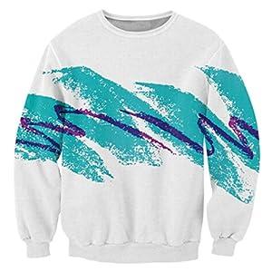 RAISEVERN Weihnachten Pullover Jumper, Herren Damen Unisex Lustige Sweatshirts hässliche Pullover 3D Printed Xmas Grafik Santa Long Sleeve Shirt S-3XL