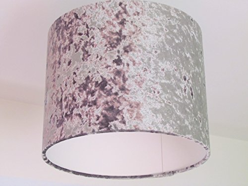 Handmade Steel Grey Crushed Velvet Fabric Drum Statement Lampshade Lightshade