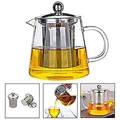 Idea Regalo - Teiera di Vetro 350 ml PLUIESOLEIL con Vetro Filtro in Acciaio Inox Inserto (450ML)