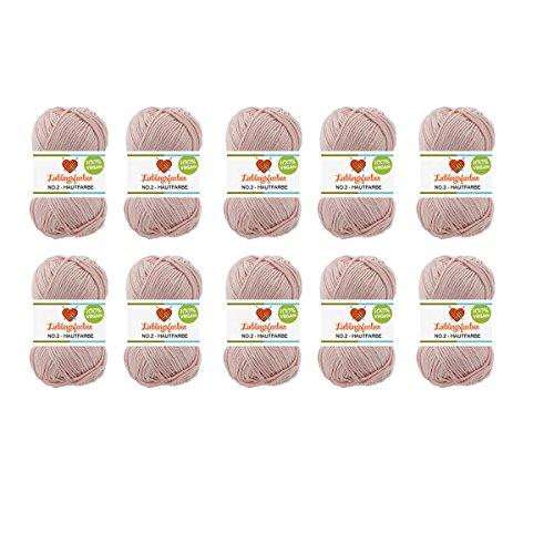 10er Pack Häkel- und Strickgarn Baumwoll-Kapok-Mix Lieblingsfarben No.2 500g Farbe: (Hautfarbe)