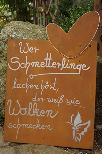 Edelrost Tafel Schmetterlinge 38x26cm Spruch Garten Metall Herz Rost Schild Text Geschenk