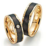 FischerCarbon Trauringe 585/- Apricotgold F-01230-060 - Gold Carbon