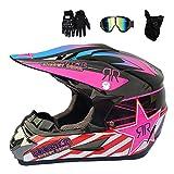 MRDEAR Casque Moto Cross Adulte Casque Motocross Moto Set, Goggle/Gants/Masque, Noir...