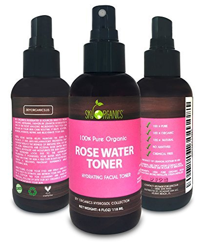Organic Rose Water Toner by Sky Organics 4oz-100% Pure, Organic Distilled Rosewater Toner For Face And Hair- Best Gentle Facial Cleanser -Preps Dry & Acne Prone Skin for Serums, Moisturizers & Makeup by Sky Organics
