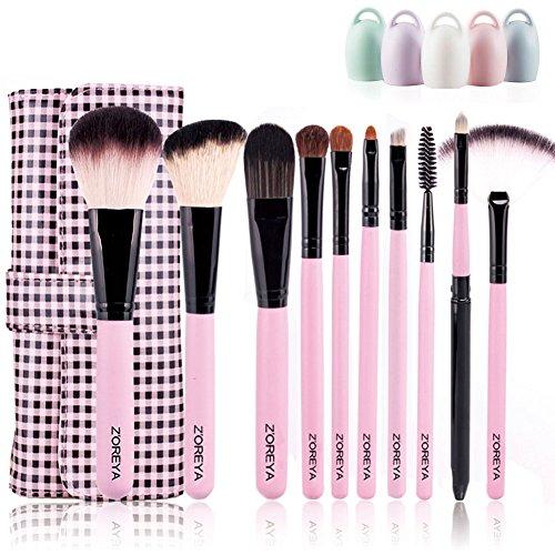 Woolala 10Pcs Brosses De Maquillage, Brosse Douce Brosse À Cosmétiques Vegan Fondation Blush Powder Brushes Avec Plaid Bag + 1 Brosse Egg, Pink